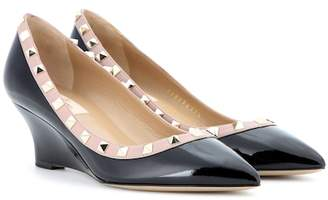 Valentino Rockstud patent leather wedges