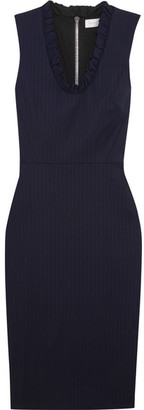 Victoria Beckham - Ruffled Pinstriped Stretch-poplin Dress - Navy