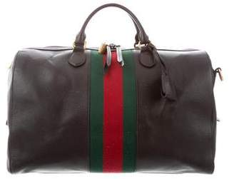 Gucci Web-Trimmed Leather Duffle Bag
