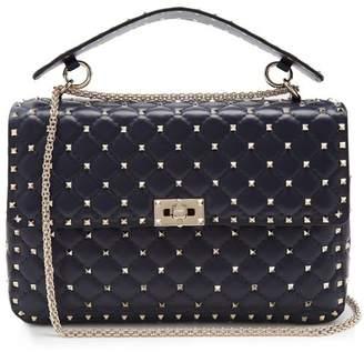 Valentino Rockstud Spike Large Quilted Leather Shoulder Bag - Womens - Navy