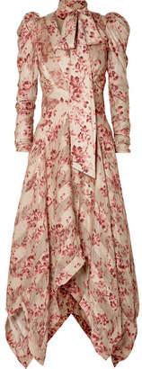 Zimmermann Unbridled Chiffon-paneled Floral-print Silk-blend Dress - Antique rose