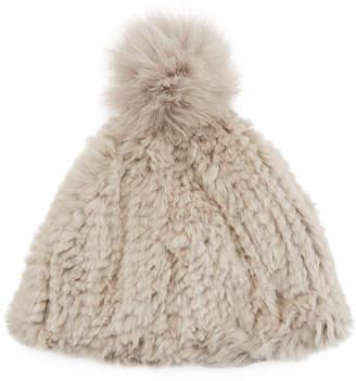 Adrienne Landau Knitted Rabbit Fur Pompom Beanie