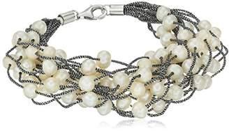 Bella Pearl Fancy Silver Multirow Threaded Bracelet