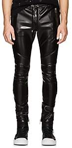 Balmain Men's Faux-Leather Biker Jogger Pants - Black