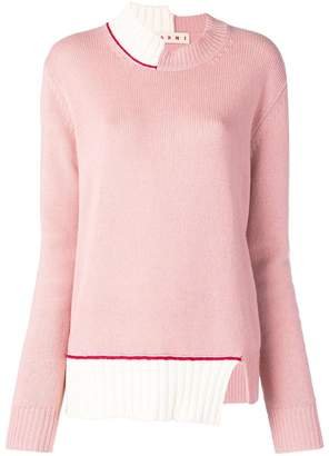 Marni asymmetric colourblock jumper