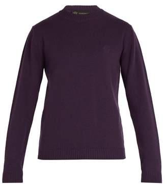 Versace Medusa Embroidered Wool Sweater - Mens - Purple