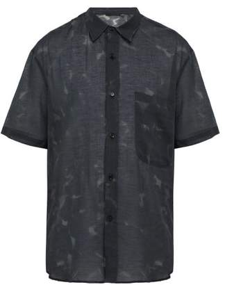 Stella McCartney Mottle Print Semi Sheer Cotton Blend Poplin Shirt - Mens - Black Multi