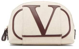 Valentino Go Logo Applique Canvas Wash Bag - Womens - Cream Multi