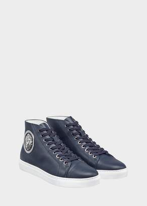 Versace Lion Head Leather High top Sneakers