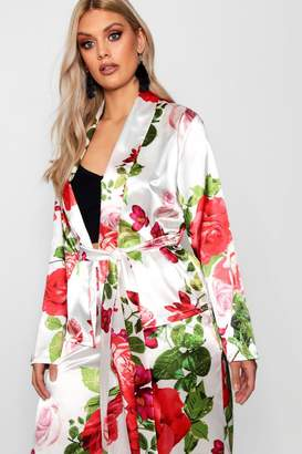 boohoo Plus Rose Print Satin Belted Jacket