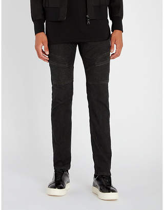Neil Barrett Biker-patch slim-fit straight jeans