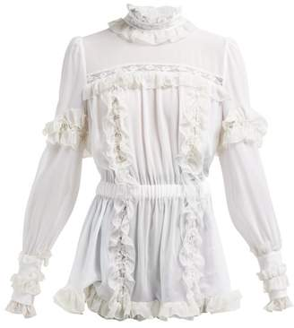 Dolce & Gabbana Ruffled Lace Insert Silk Blend Blouse - Womens - White