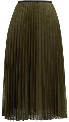 Moncler Perforated Mesh Pleated Midi Skirt - Womens - Khaki