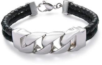 Sutton by Rhona Sutton Men's Stainless Steel Black Leather Bracelet