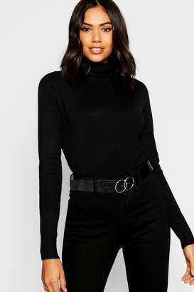 boohoo Knitted Soft Knit Premium Roll Neck Top