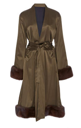 Grace Fuller Exclusive Fur-Trimmed Silk Midi Robe