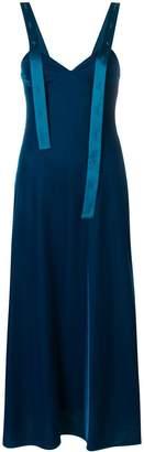 Off-White asymmetric shoulder strip dress