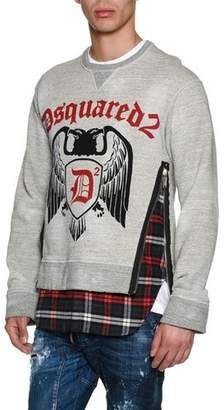 DSQUARED2 Crest Sweatshirt with Flannel Hem