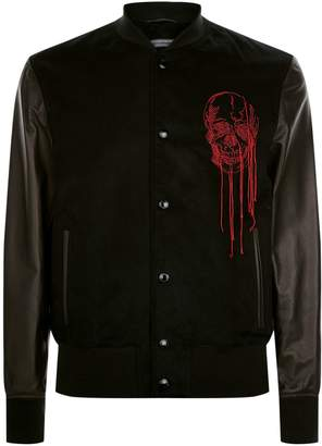 Alexander McQueen Leather Panel Skull Embroidered Bomber Jacket