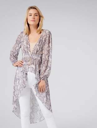 Forever New Sophie Blouson Sleeve High-Low Top - Tonal Python - 4