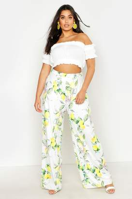 boohoo Plus Lemon Print Slinky Wide Leg Trousers