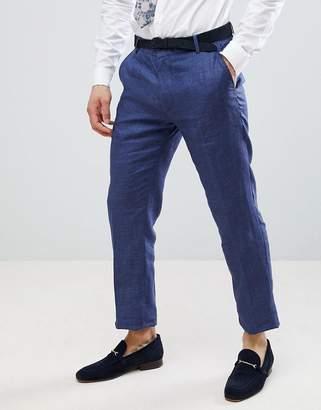 Benetton Wedding Regular Fit Linen Suit Pants In Blue