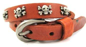 Hera Skull Bones Rock Gothic Light Brown Leather Belt Buckle Leather Wrap Bracelet