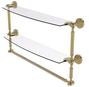 Allied Brass Dottingham Collection 24 Inch Two Tiered Glass Shelf with Integrated Towel Bar