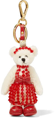 Prada Sissy Bead-embellished Faux Shearling And Leather Keychain - Red