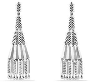 David Yurman Stax Silver Fringe Earrings with Diamonds