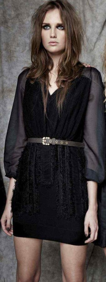 Mirco Giovannini Sheer L/s Dress
