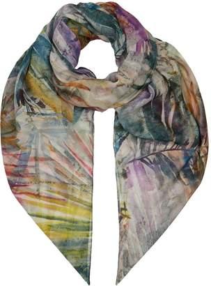eskandar Leaf Print Silk Scarf