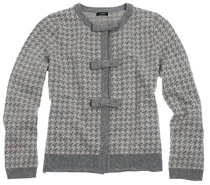 Houndstooth bow-button cardigan