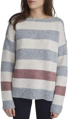 White + Warren Bold Stripe Bateauneck Sweater - Women's