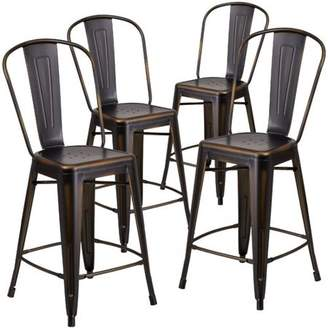 Flash Furniture 4pk 24'' High Distressed Copper Metal Indoor Counter Height Stool with Back