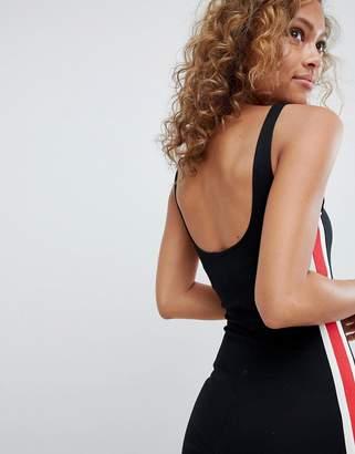 Pull&Bear side stripe detail bodycon dress in black