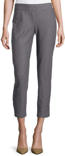Eileen Fisher Washable Stretch-Crepe Ankle Pants, Ash