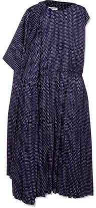 Balenciaga Asymmetric Polka-dot Silk-jacquard Midi Dress