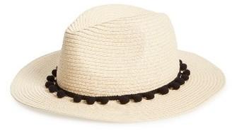 Women's Sole Society Pom Pom Panama Hat - White $26.95 thestylecure.com