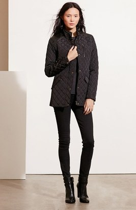 Women's Lauren Ralph Lauren Diamond Quilted Jacket With Faux Leather Trim $160 thestylecure.com