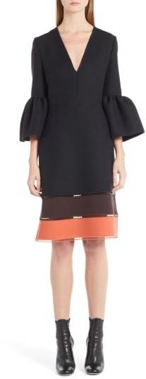 Women's Fendi Wool & Silk Bell Sleeve Shift Dress