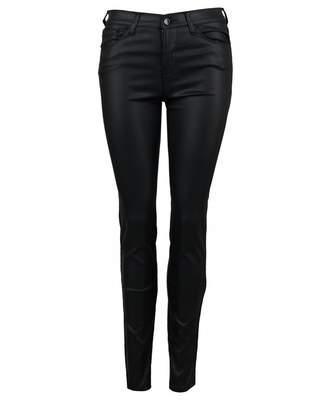 Emporio Armani Coated High Rise Super Skinny Jeans Colour: BLACK, Size