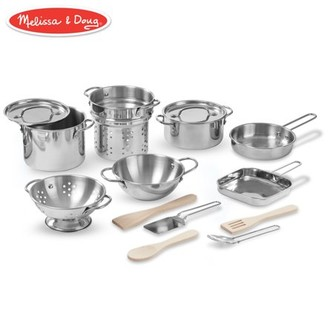 Melissa & Doug Deluxe Stainless Steel Pots & Pans Play Set Pretend Cooking 15 Pcs