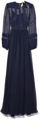 No.21 No. 21 Long Sleeve Sheer Panel Dress in Navy