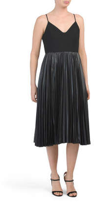 Strappy Pleated Skirt Midi Dress