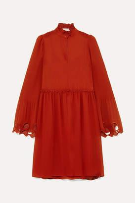 See by Chloe Ruffled Cutout Georgette Mini Dress - Red