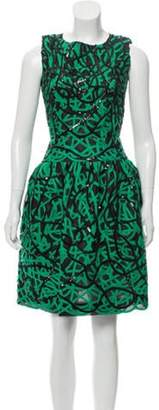 Oscar de la Renta Silk Sequined Dress Green Silk Sequined Dress