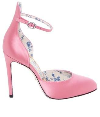 Gucci Daisy Satin D'orsay Pumps
