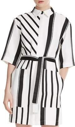 Maje Ronson Striped Belted Shirt Dress