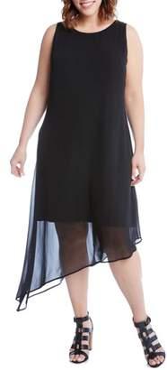 Karen Kane Asymmetrical Overlay Shift Dress